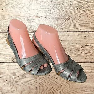 Silver strappy wood-look pillow soft heels